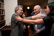 STEPHEN FREARS; JOHN MALKOVICH; POLLY SAMSON, Freud Museum dinner, Maresfield Gardens. 16 June 2011. <br /> <br />  , -DO NOT ARCHIVE-© Copyright Photograph by Dafydd Jones. 248 Clapham Rd. London SW9 0PZ. Tel 0207 820 0771. www.dafjones.com.