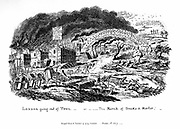 London going out of Town - or The March of Bricks and Mortar'. Etching by George Cruickshank published 1 November 1829. Expansion of London, showing the eating up of green field sites and pollution from the city and from brickworks.