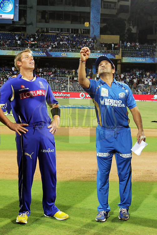 Mumbai Indian captain Sachin Tendulkar and Rajasthan Royals captain Shane Warne during the toss of  match 66 of the the Indian Premier League ( IPL ) Season 4 between the Mumbai Indians and the Rajasthan Royals held at the Wankhede Stadium, Mumbai, India on the 20th May 2011..Photo by BCCI/SPORTZPICS.