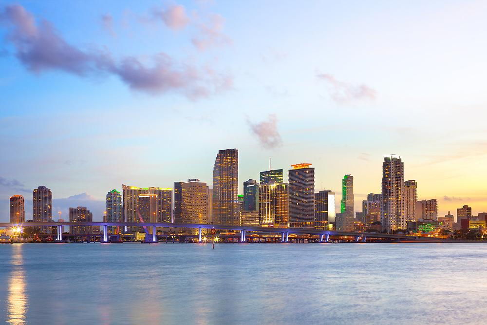 Skyline of downtown Miami at dusk, Florida, USA