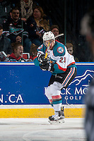 KELOWNA, CANADA - JANUARY 7: Reid Gardiner #23 of the Kelowna Rockets passes the puck against the Kamloops Blazers on January 7, 2017 at Prospera Place in Kelowna, British Columbia, Canada.  (Photo by Marissa Baecker/Shoot the Breeze)  *** Local Caption ***