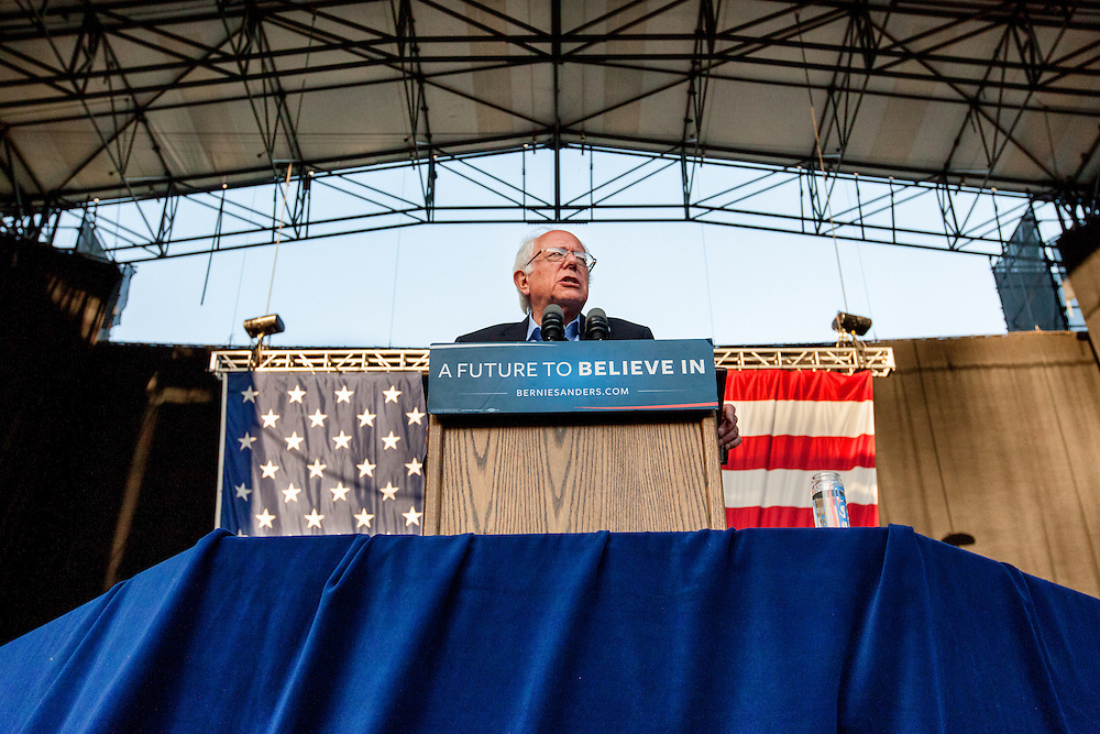"Presidential candidate Bernie Sanders refused to ""go negative."" He was accused of being a socialist. One of his greatest arguments was about getting money out of American politics. May 22, 2016. Irvine, Calif. (Photo by Gabriel Romero ©2016)"