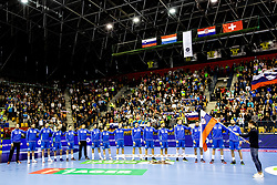 Team Slovenia listening to the national anthem during handball match between National teams of Slovenia and Netherlands in Qualifications of 2020 Men's EHF EURO, on April 14, 2019, in Arena Zlatorog, Celje, Slovenia. Photo by Vid Ponikvar / Sportida