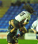© Peter Spurrier/Intersport Images .Tel + 441494783165 email images@Intersport-images.com.30/11/2003 - Photo  Peter Spurrier.2003/04 Zurich Premiership Rugby - London Irish v Sale Sharks.Sharks Vaughan Going beats, Rob Hoadley, to collecting the high ball,