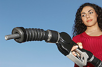 Woman holding fuel pump