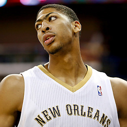 Oct 23, 2013; New Orleans, LA, USA; New Orleans Pelicans power forward Anthony Davis (23) against the Miami Heat during the first quarter of a preseason game at New Orleans Arena. Mandatory Credit: Derick E. Hingle-USA TODAY Sports