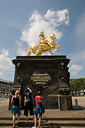Dresden Neustadt, goldener Reiter auf dem Neustaedter Markt, Dresden, Sachsen, Deutschland.|.Dresden, Germany,  Dresden Neustadt, mainstreet, golden rider