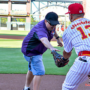 Ace 2017 Year In Review- Victor Cruz from 92.3FM the Fox throwing out the first pitch at the Diablos Days at Southwest University Park, Tacoma vs El Paso, April 19, 2017
