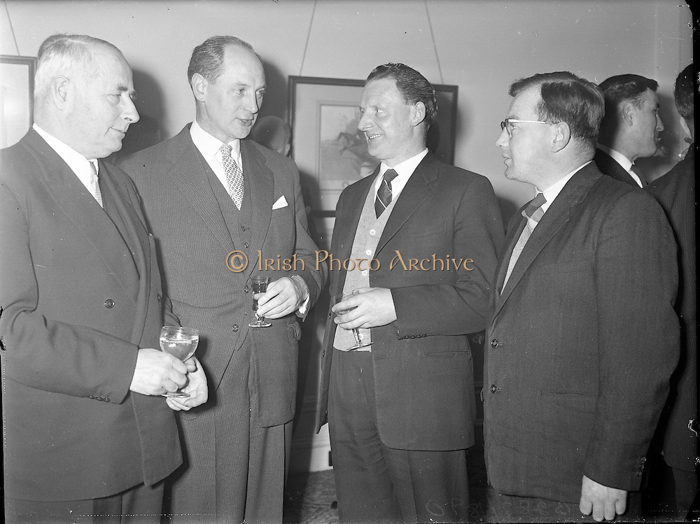Irish Mining and Quarrying Society Dinner at the Shelbourne Hotel, Dublin..1960..25.01.1960..01.25.1960..25th January 1960...Pictured at the Irish Mining and Quarrying Society Dinner were from left, Prof M A Hogan, Dean of Enginering Faculty, .U C D, Mr Jack Lynch TD, Minister for Industry and Commerce, Mr Tom O'Brien, Managing Director, Ballingarry Colleries and Mr M O'Callaghan, Cork, Quarry Manager, Roadstone.