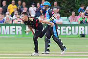 Gavin Griffiths bowling during the Vitality T20 Blast North Group match between Worcestershire Rapids and Leicestershire Foxes at Blackfinch New Road, Worcester, United Kingdom on 4 August 2019.