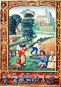 Early 16th century life. August: The grain harvest. Reaping with sickles. Workers being brought refreshment by woman. Sheaves of grain being carted to barn or mill (centre left). At the bottom, men are indulging in a game of cock throwing. Miniature.