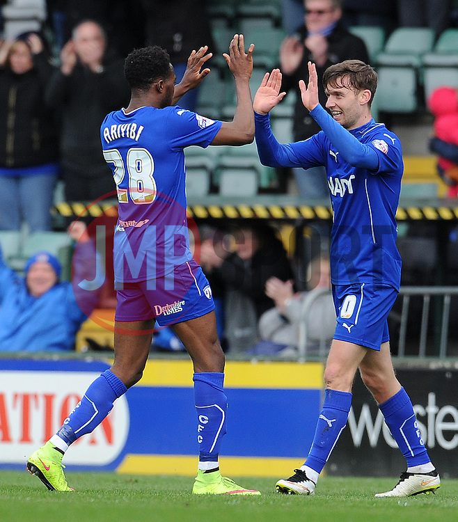 Chesterfield's Jay O'Shea celebrates his sides goal  - Photo mandatory by-line: Harry Trump/JMP - Mobile: 07966 386802 - 03/04/15 - SPORT - FOOTBALL - Sky Bet League One - Yeovil Town v Chesterfield - Huish Park, Yeovil, England.