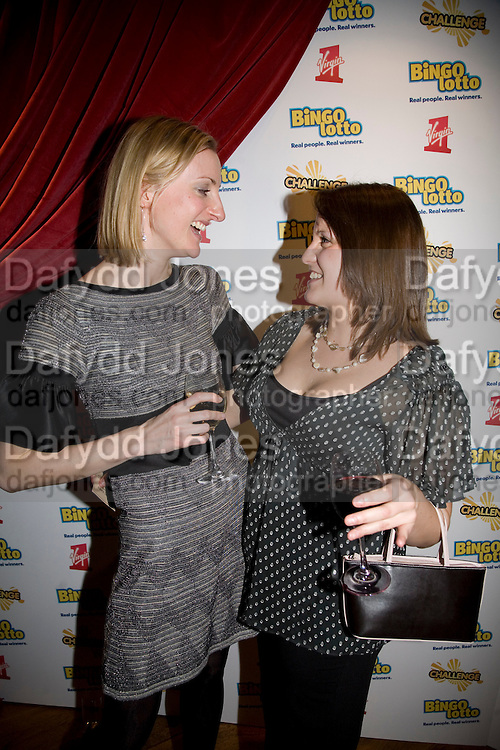 CLAIRE MCDOWELL AND KAREN THOMAS, Bingo Lotto launch party. Soho Hotel Richmond Mews. London. 29 February 2008.  *** Local Caption *** -DO NOT ARCHIVE-© Copyright Photograph by Dafydd Jones. 248 Clapham Rd. London SW9 0PZ. Tel 0207 820 0771. www.dafjones.com.