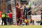 Bradford City defender Anthony McMahon (29) scores a goal and celebrates to make the score 1-0 during the Sky Bet League 1 play off first leg match between Bradford City and Millwall at the Coral Windows Stadium, Bradford, England on 15 May 2016. Photo by Simon Davies.