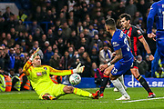 Chelsea defender Emerson Palmieri (33) tries for goal during the quarter final of the EFL Cup match between Chelsea and Bournemouth at Stamford Bridge, London, England on 19 December 2018.