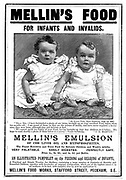 Advertisement for Mellin's Emulsion, food supplement based on cod liver oil, recommending it for children and invalids. Magazine advertisement  c1890. Engraving.