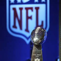 Feb 05, 2010;  Fort Lauderdale, FL, USA; A general view of the Vince Lombardi Trophy on display for press conferences held at the Super Bowl XLIV media center at the Fort Lauderdale/Broward County Convention Center. Mandatory Credit: Derick E. Hingle
