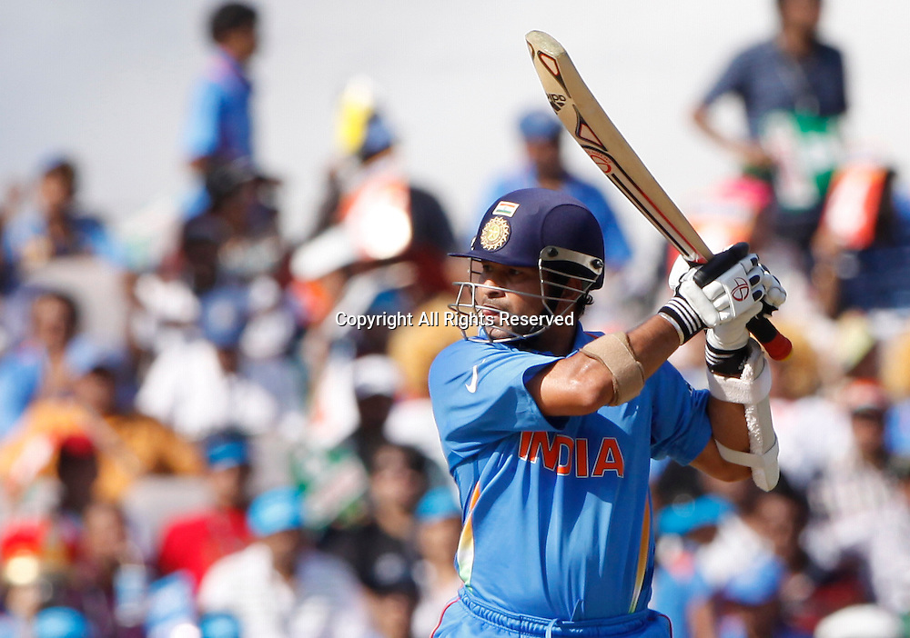12.03.2011 Cricket World Cup India v South Africa from Nagpur.Sachin Tendulkar of india plays a shot during the match of the ICC Cricket World Cup between India and South Africa.