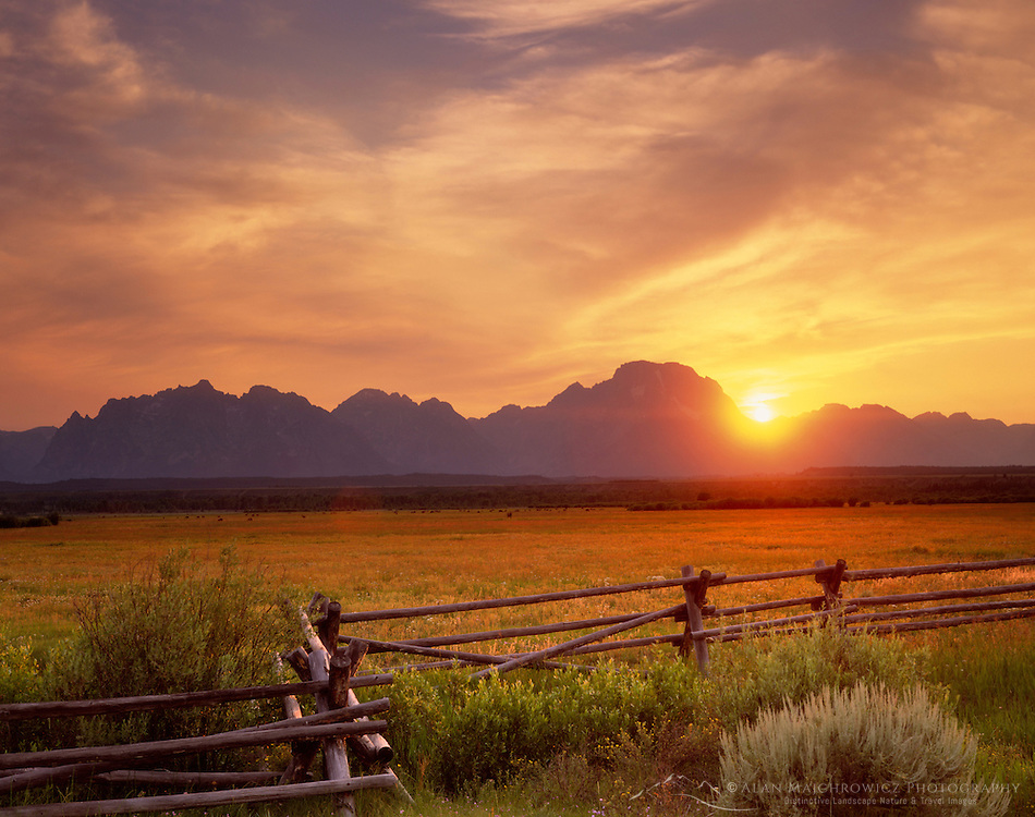Sunset over the Grand Tetons from the Sagebrush Flats, Grand Teton National Park Wyoming