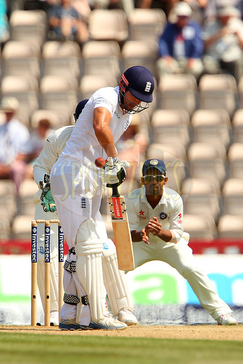 Alastair Cook captain of England during day four of the third Investec Test Match between England and India held at The Ageas Bowl cricket ground in Southampton, England on the 30th July 2014<br /> <br /> Photo by Ron Gaunt / SPORTZPICS/ BCCI
