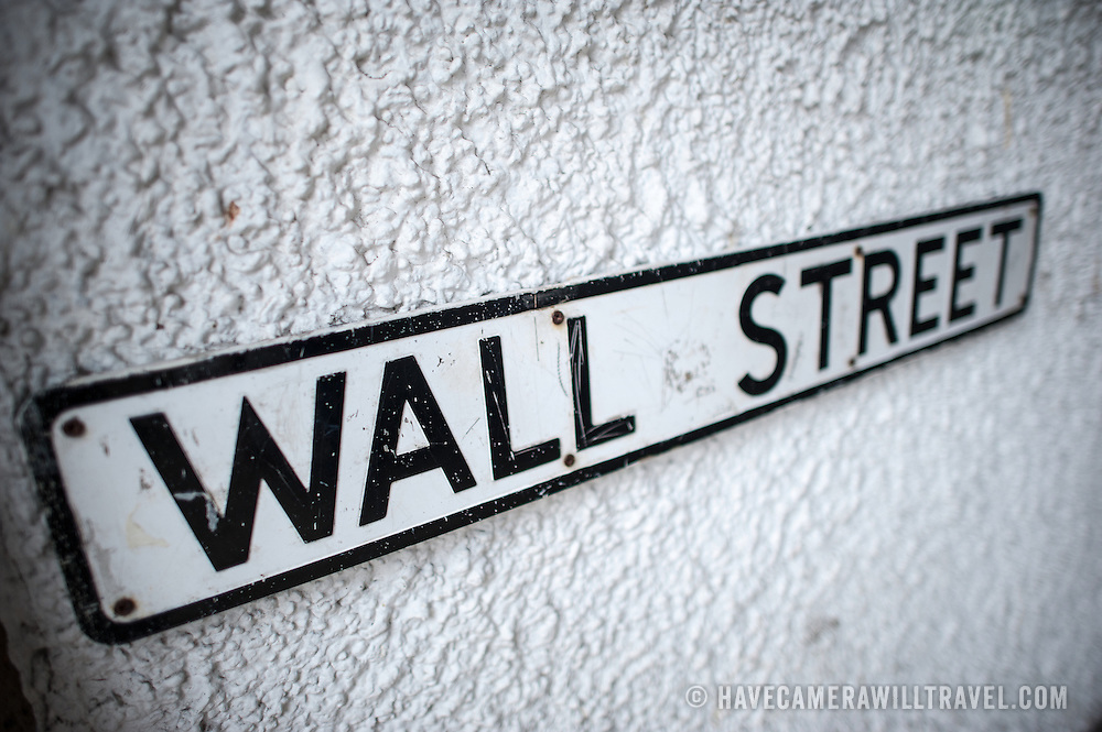 A sign for Wall Street in Beaumaris on the island of Anglesey of the north coast of Wales, UK.