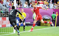13-06-2012 VOETBAL: UEFA EURO 2012 DAY 6: POLEN OEKRAINE<br /> RUI PATRICIO NICKLAS BENDTNER SCORES during the UEFA EURO 2012 group B match between Denemarken en Portugal at Arena Lwiw, Lemberg, UKR<br /> ***NETHERLANDS ONLY***<br /> ©2012-FotoHoogendoorn.nl