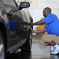 Jerry Montgomery hand cleans the wheels so not to damage the finish of the rims.