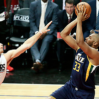 15 April 2017: Utah Jazz center Boris Diaw (33) takes a jump shot over LA Clippers forward Blake Griffin (32) during the Utah Jazz 97-95 victory over the Los Angeles Clippers, during game 1 of the first round of the Western Conference playoffs, at the Staples Center, Los Angeles, California, USA.