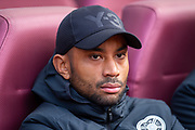 Injured Loic Damour (#22) of Heart of Midlothian FC on the bench before the Ladbrokes Scottish Premiership match between Heart of Midlothian and Rangers FC at Tynecastle Park, Edinburgh, Scotland on 20 October 2019.