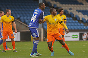 Halifax Town defender, on loan from Lincoln City, Nat Brown  and Wycombe Wanderers defender Aaron Pierre  during the The FA Cup match between FC Halifax Town and Wycombe Wanderers at the Shay, Halifax, United Kingdom on 8 November 2015. Photo by Simon Davies.