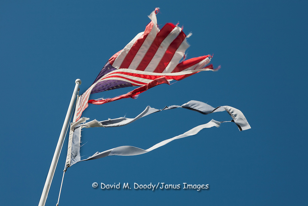A tattered American flag flies over the Rowan Memorial Home, Sweet Springs, West Virginia May 2011