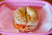 Everything Bagel with Scalion Cream Cheese, Tomatoes and Capers at Catskill Bagel ($5.00) - OFF: Festivus