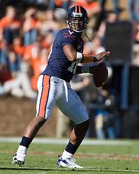 Virginia quarterback Jameel Sewell (10) drops back to pass.  The #23 Virginia Cavaliers defeated the #24 Wake Forest Demon Deacons 17-16 at Scott Stadium in Charlottesville, VA on November 3, 2007.