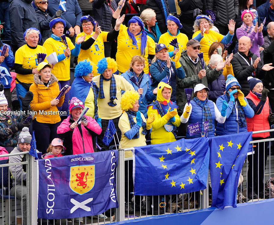 Solheim Cup 2019 at Centenary Course at Gleneagles in Scotland, UK. Team Europe fans in stand beside 1st tee on Sunday morning.