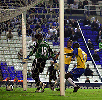 Photo: Mark Stephenson.<br /> Birmingham City v Hereford United. Carling Cup. 28/08/2007.Hereford's Theo Robinson makes it 1-2