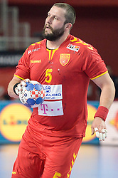 Stojanche Stoilov of Macedonia during handball match between National teams of Macedonia and Denmark on Day 7 in Main Round of Men's EHF EURO 2018, on January 24, 2018 in Arena Varazdin, Varazdin, Croatia. Photo by Mario Horvat / Sportida