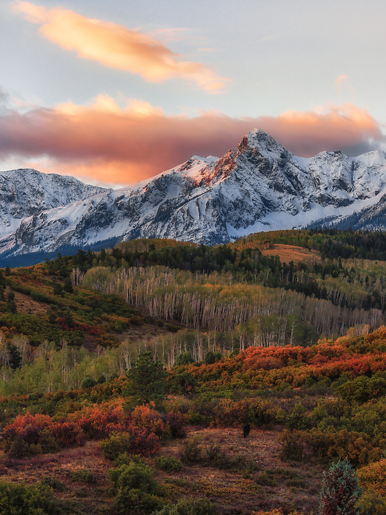 Taken from the Dallas Divide, Mount Sneffels is the highest summit of the Sneffels Range in the Rocky Mountains of North America. The prominent 14,158-foot fourteener is located in the Mount Sneffels Wilderness of Uncompahgre National Forest.