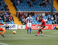 23rd September 2017, Rugby Park, Kilmarnock, Scotland; SPFL Premiership football, Kilmarnock versus Dundee; Dundee's Faissal El Bakhtaoui opens there scoring for 1-0