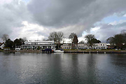 """Henley on Thames. United Kingdom.  General View across at """"Phyllis Court Club"""". the River Thames at the Oxfordshire. Henley Reach.   <br /> <br /> Saturday  28/01/2017<br /> <br /> © Peter SPURRIER<br /> <br /> LEICA CAMERA AG  LEICA Q (Typ 116)  f8  1/400sec  28mm  3.5MB"""