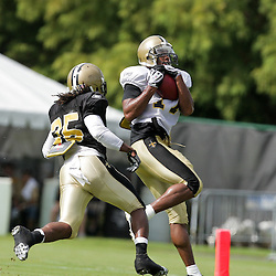 01 August 2009: New Orleans Saints wide receiver Robert Meachem (17) beats cornerback Reggie Jones (35) deep on a passing drill during New Orleans Saints training camp at the team's practice facility in Metairie, Louisiana.