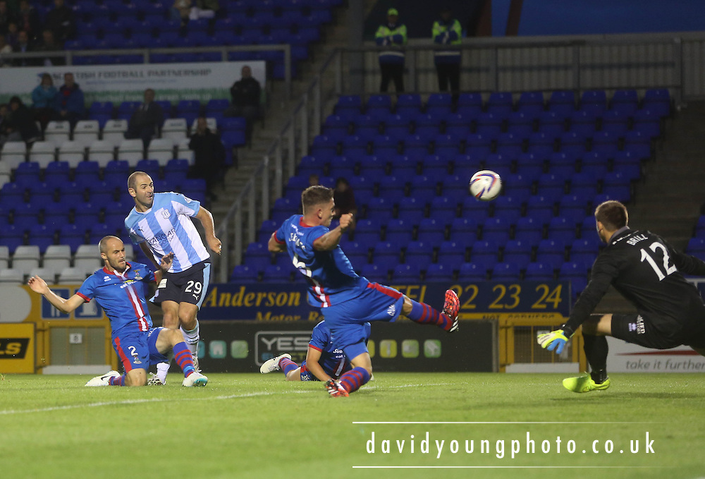 Gary Harkins effort is blocked late in the game - Inverness Caledonian Thistle v Dundee, SPFL Premiership at Tulloch Caledonian Stadium<br /> <br />  - &copy; David Young - www.davidyoungphoto.co.uk - email: davidyoungphoto@gmail.com