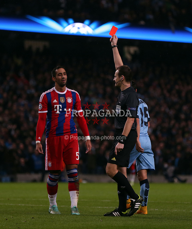 MANCHESTER, ENGLAND - Tuesday, November 25, 2014: Bayern Munich's Medhi Benatia is sent off during the UEFA Champions League Group E match at the City of Manchester Stadium. (Pic by Chris Brunskill/Propaganda)