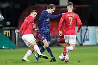 (L-R) Mats Seuntjens of AZ Alkmaar U23, Leon Bergsma of Ajax U23, Jamie Jacobs of AZ Alkmaar U23