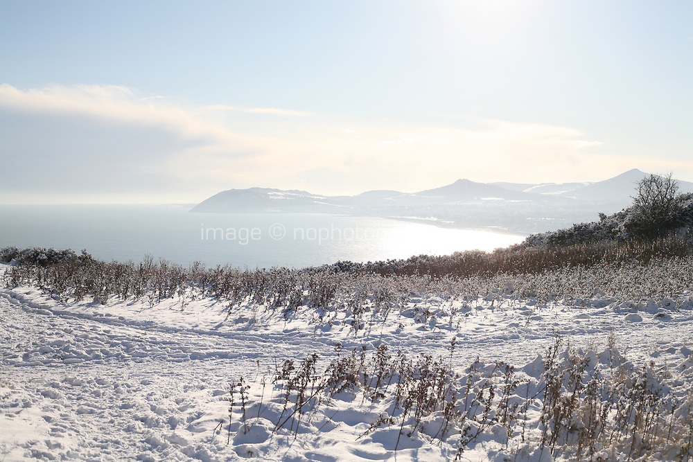 View from Killiney Hill Dublin in the snow