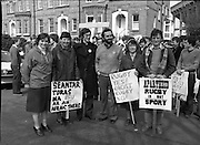 Anti Apartheid Protest.    (N69)..1981..08.04.1981..04.08.1981..8th April 1981..In protest against a forthcoming Irish rugby tour to South Africa, members of the anti-apartheid movement held a protest at Irish Rugby headquarters. The group made up of both religious and laity were trying to encourage the rugby authorities to cancel the tour which they saw as giving credibility to a corrupt system of government...Picture shows ,Sr  Marian Dooley FCJ ,Limerick, Maria Flynn,Little Sisters of Assumption,Tipperary, Fr Michael O'Sullivan SJ,Limerick, Fr Steve Cummins OSM,Cork,. Sr Bernie O'Donovan, Little Sisters of the Assumption, Kerry and Pat Donovan OMI from Tralee protesting at Irish Rugby headquarters.