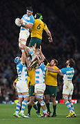 Twickenham. Great Britain,   Pablo MATERA, catches the lineout ball, during, Semi Final. Australia vs Argentina  2015 Rugby World Cup,  Venue, Twickenham Stadium, Surrey England.   Sunday  25/10/2015   [Mandatory Credit; Peter Spurrier/Intersport-images]