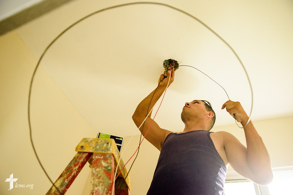 Mauricio Guedez does electrical work at the Concordia Reformer Lutheran Seminary and Mercy Center in Santiago, Dominican Republic, on Monday, March 20, 2017.  LCMS Communications/Erik M. Lunsford