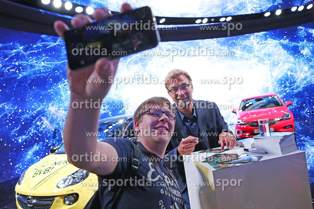 19.09.2015, Messe Frankfurt, Frankfurt am Main, GER, IAA 2015, im Bild Opel Markenbotschafter und Ex-Trainer von Borussia Dortmund J&uuml;rgen Klopp // former Dortmund Coach Juergen Klopp during the The International Motor Show IAA at the Messe Frankfurt in Frankfurt am Main, Germany on 2015/09/19. EXPA Pictures &copy; 2015, PhotoCredit: EXPA/ Eibner-Pressefoto/ Roskaritz<br /> <br /> *****ATTENTION - OUT of GER*****