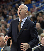 Nov 15, 2019; Los Angeles, CA, USA; UCLA Bruins head coach Mick Cronin reacts in the first half against the UNLV Rebels at Pauley Pavilion. UCLA defeated UNLV 71-54.