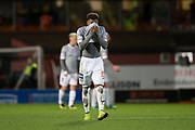 12th January 2019, Tannadice Park, Dundee, Scotland; Scottish Championship football, Dundee United versus Dunfermline Athletic; Myles Hippolyte of Dunfermline Athletic dejected at full time
